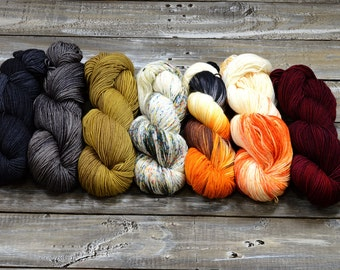Yarn color KIT, Find Your Fade -  7 skeins combo - From dusk till dawn
