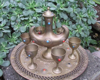 Vintage brass Moroccan Drink Set Tea Service with tray and embellishments