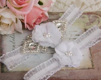 White Wedding Garter set, Bridal Garter set, Organza Garter, Organza Wedding Garter, Rhinestone Garter Set