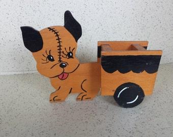 Small Folk Art Dog Pull Cart