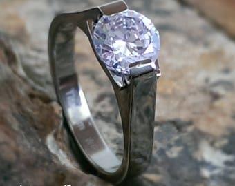 Womens Titanium Wedding Ring with 1 Carat Round Cubic Zirconia CZ Personalized Wedding Band - Engagement Ring Promise Ring Jewelry AZ196