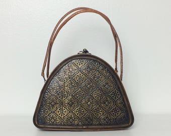 Vintage 60s Wooden Embossed Handbag
