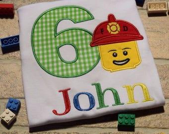 Fireman birthday Fireman Shirt Lego Birthday Shirt Firefighter Shirt Police Man lego master