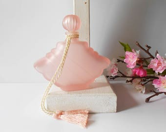 Vintage Perfume Bottle, Pink Perfume Bottle, Scent Bottle, Frosted Glass, Vanity Accessory, Bridesmaid Gift, Gift for Her