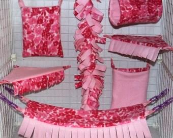 Petal Breeze Custom Sugar Glider Fleece Cage Set