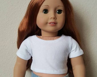 White cropped tee for 18 inch dolls by The Glam Doll - Fits American Girl dolls