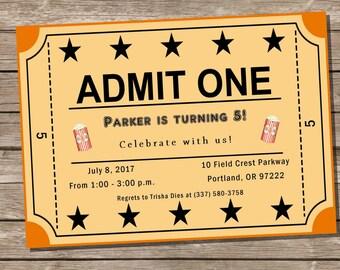 PRINTABLE Movie Night Ticket Birthday Party Invite