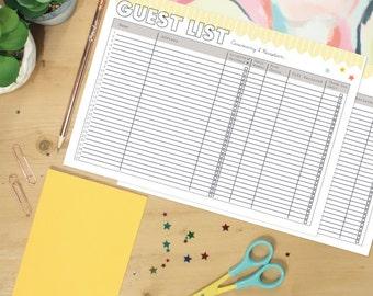 Wedding Guest List Planner Printable - Instant Download Wedding Planning - Print at Home - Digital File - Downloadable Wedding Organiser