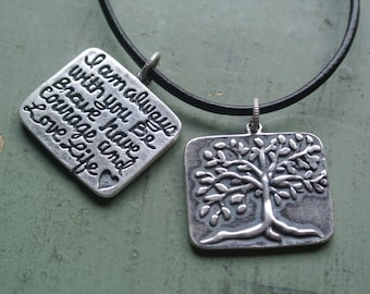 """Tree Of Life Quote Necklace,Leather,Mother Daughter Gift, Quote,""""I am always with you-Be Brave-Have Courage and Love Life"""" By UPcycled Works"""