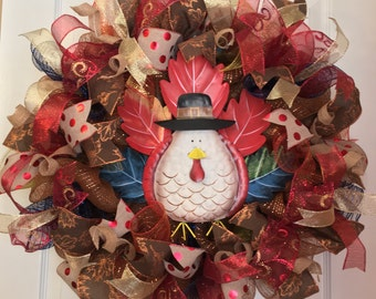 Thanksgiving Wreath/ Turkey Wreath/ Fall Wreath/ Fall Door Decor/ Harvest Wreath/ Fall Deco Mesh Wreath