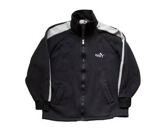 SALE vintage puma track jacket black and gray colorblock throwback retro puma fleece zip up 80s 90s sportswear
