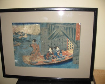 """ANTIQUE JAPANESE WOODBLOCK Print From The 1800's In Original Thin Black Wood Frame 18"""" x 13 1/2"""" Signed Top Right Corner"""