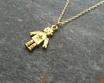Robot Necklace/Robot Pendant/Robot Jewellery/Tiny Robot/Robots/Funky Jewellery/Gold Robot Necklace/Modern/Little Robot/Robot Jewelry/Gadget