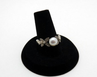 vintage pearl ring - size 7 ring, sterling silver
