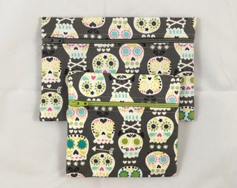 Day of the dead cosmetic bags, sugar skull makeup bag, accessory bag, coin purse