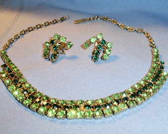 Vintage Green Rhinestone Necklace And Earring Jewelry Set