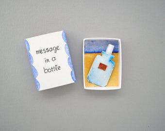Message in a bottle, matchbox card, love mail, boyfriend girlfriend gift, love card, matchbox art, message box, diorama, Valentine's day