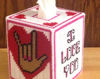 I Love You Tissue Box Cover, plastic canvas, Valentines Day Decor, I Love You Decor, I love you gift, gift for her, hand sign