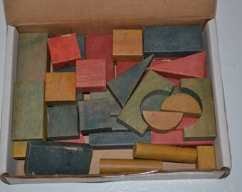 Vintage Wooden Toy Building Blocks
