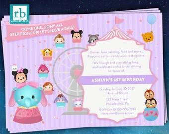 Carnival Invitations, Tsum Tsum Party, Circus Party, Disney Carnival, Circus Invitation, Carnival Party, Dumbo - Digital Printables