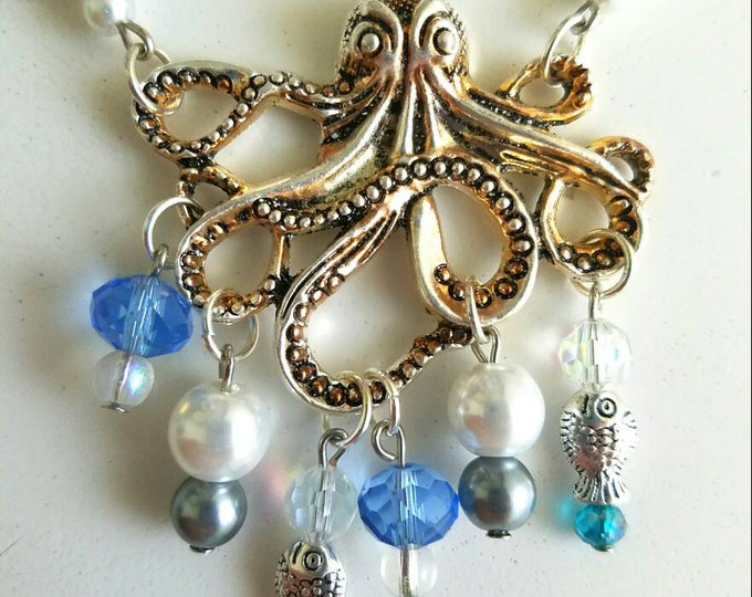 White Teal Blue Crystal Pearl Fish Octopus Necklace
