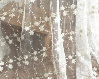 Cotton embroidery lace fabric, soft tulle mesh lace fabric with daisy flowers , fabric by yard
