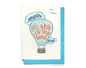 Graduation Card - Class of 2017 - The Sky is the Limit - Grad Card - Congratulations Grad - GR1