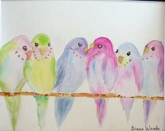 "ORIGINAL WATERCOLOR PAINTING ""Party Line"" Double Matted 14"" X 11"" Ready for Frame.  Budgies Parakeets Birds Pastel"