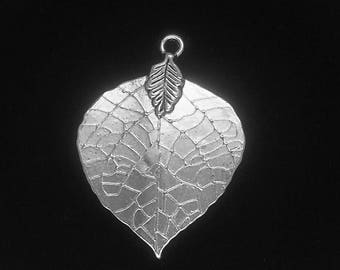 6 Pieces Leaf charms, Silver leaf charms, leave charms silver finish 42x34mm 35-5-S