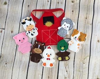 Farm animal finger puppets with barn pouch, barnyard animals, toddler toys, farm birthday, barnyard birthday, christmas present, toddler gif