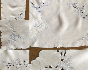 """2 Shabby Chic Periwinkle Blue and White Cotton Placemats/Doillies with Cutouts And Embroidered in Blue - 17"""" x 11"""""""