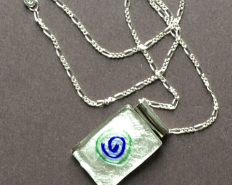 Swirl Glass Pendant Necklace - Handmade Jewelry - Gifts for Her