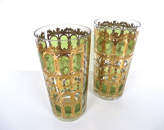 Vintage Culver Green Scroll Highballs, Culver 22kt Gold And Green Barware Glasses, Set Of 2 Hollywood Regency Tumblers