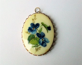 Vintage Violets Enamel Necklace Pendant ~ No Chain