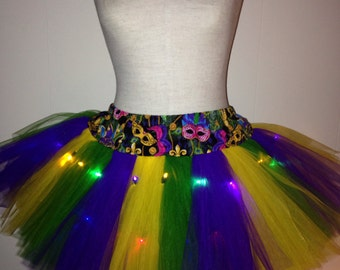 Adult Mardi Gras TuTu with Multi Colored Lights