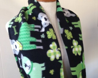 Dog Lovers Green St Patrick's Day Shamrock Fleece Infinity Scarf