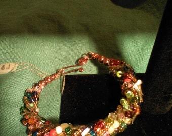 Crochet wire beaded bangle