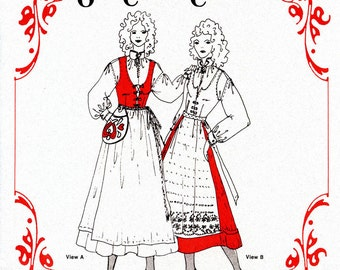 Misses' Nordic Style Olde Country Costumes Jumper, Blouse, Apron & Waist-bag sizes 8-16 Sewing Pattern