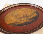 French tole serving tray hand painted Napoleon III toleware romantic antique French country home decor oval tray 19c painted tin toleware