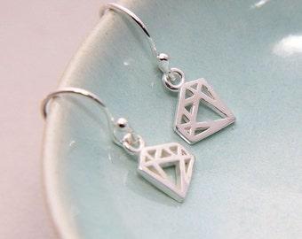 Diamond Earrings, Tiny Sterling silver diamond earrings, Silver Diamond Earrings, Outline Diamond Earrings, Geometric diamond earrings