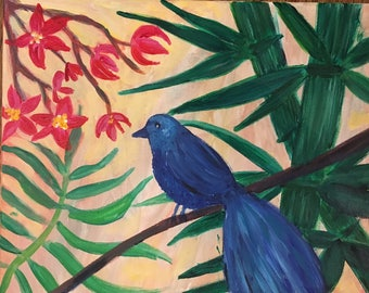 Chinoiserie Blue Bird and Bamboo with Flowers