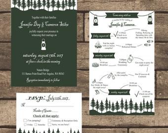printable rustic lantern wedding invitation kit invitation weekend itinerary rsvp card - Lantern Wedding Invitations
