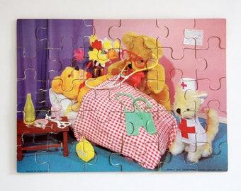 Vintage Teddytime 30 piece wooden jigsaw puzzle in teddy bear hospital scene 'Doctor Teddy'