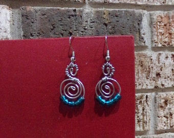 Basic Spiral Earring in Silver and Turquoise