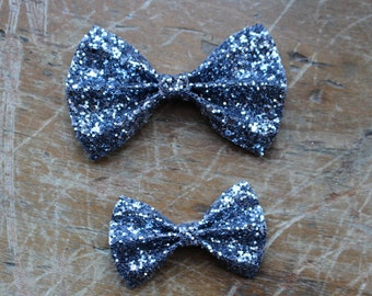 charcoal grey glitter classic bow hair clips