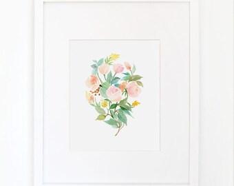 Rose Bouquet in Peach - Watercolor Art Print