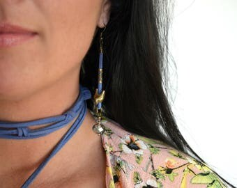 Suede Leather Dangle Earrings / Boho Earrings / Bird Earrings / Periwinkle Blue Grey Brown Black Turquoise