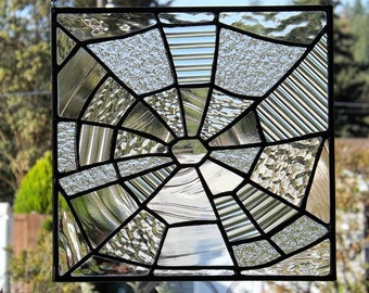 Stained Glass Spiderweb Original Handmade Panel Clear Textured Glass