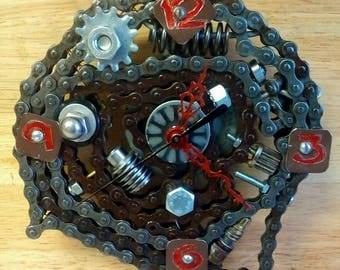 Metal Chain Wall Clock- Nuts & Bolts- Re-purposed Gears-Industrial-Gear-Head