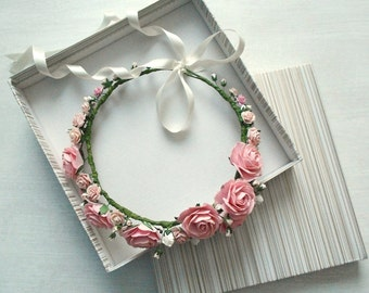Blush Pink Paper Flower Hair Wreath / Handmade Bridal Accessory / Vintage Style Floral Wreath